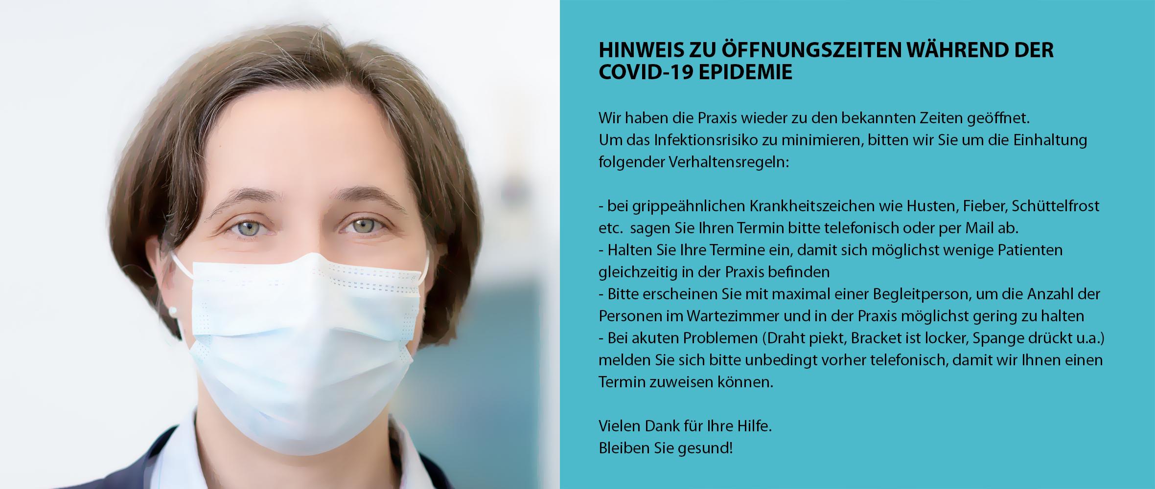 HINWEIS ZU ÖFFNUNGSZEITEN WÄHREND DER COVID-19 EPIDEMIE